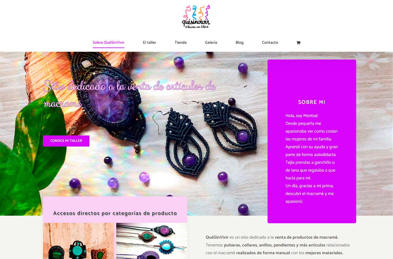 Página de inicio de la web de QuéSinVivir