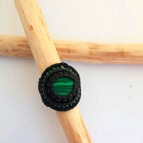 Anillo macramé malaquita negro verde