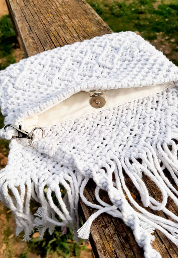 Bolso de macramé de algodón color blanco