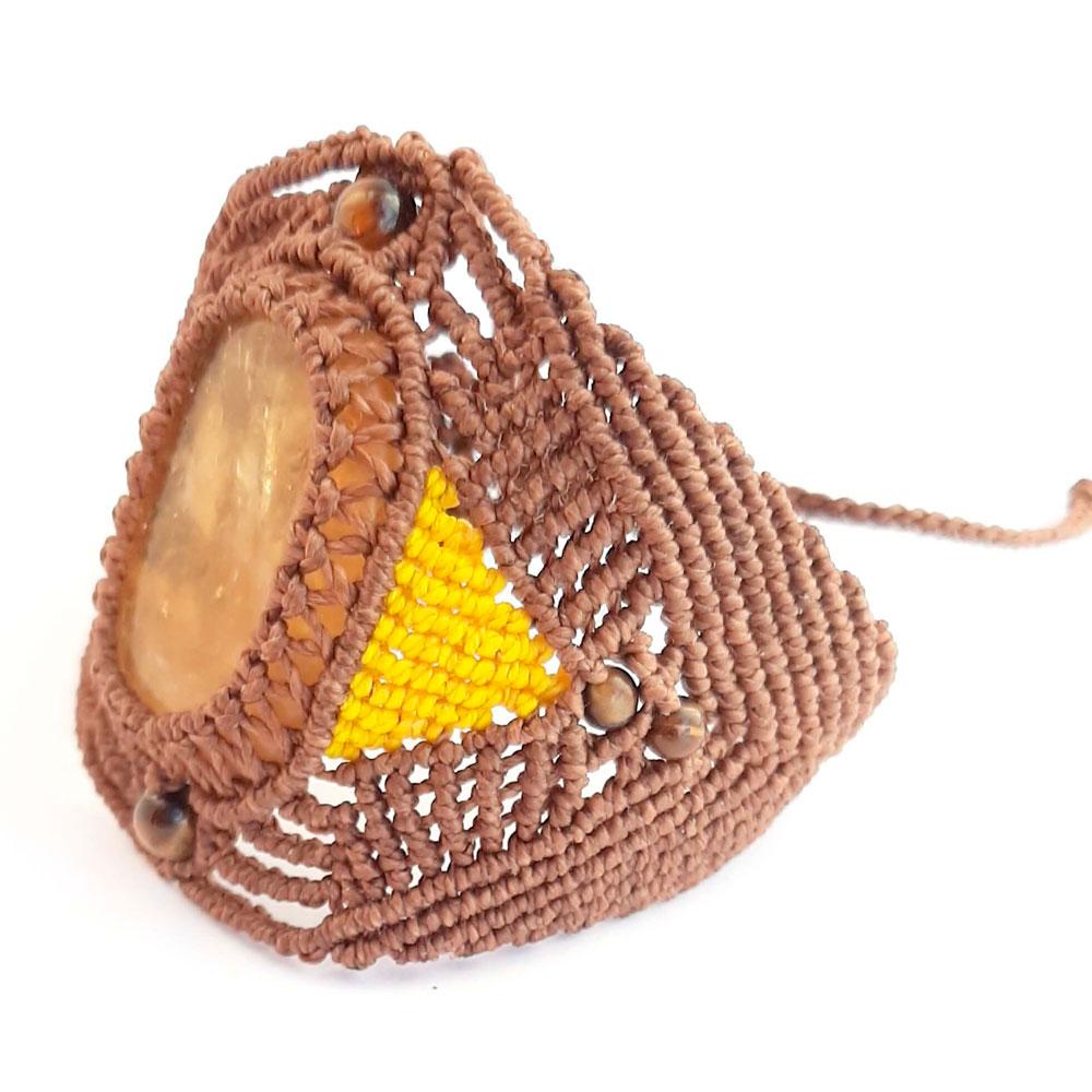 Pulsera con aragonito marrón y amarillo